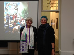 Raewyn Dalziel and Claudia Pond Eyley - Suffrage event
